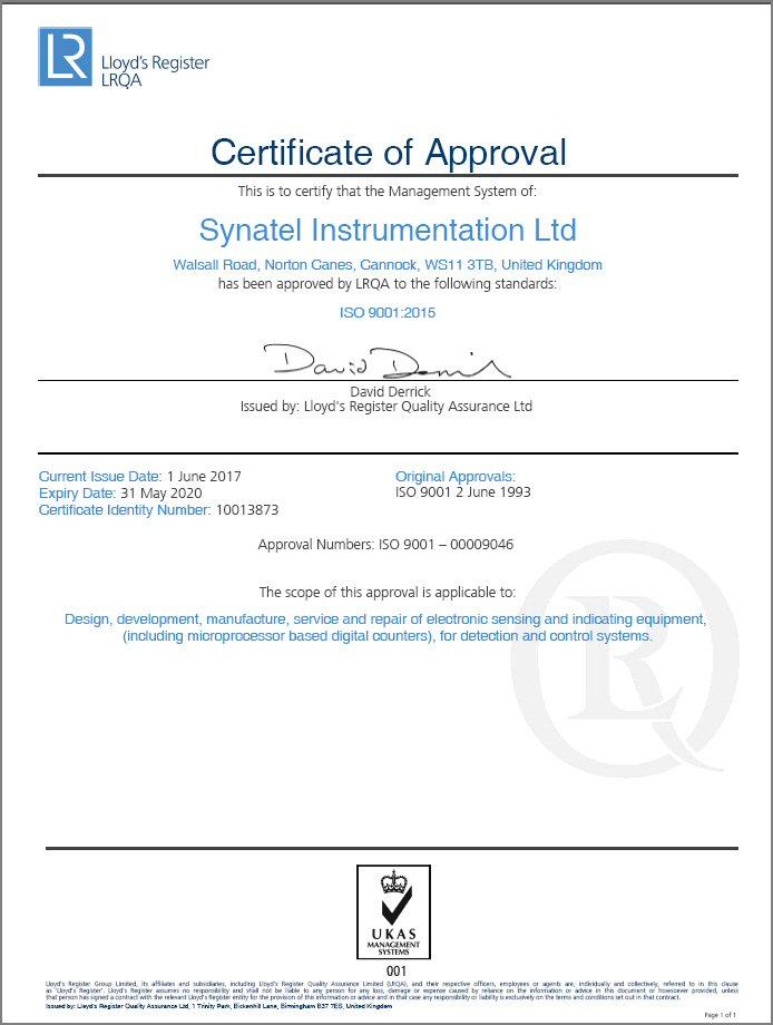 LRQA Quality Approval - Synatel