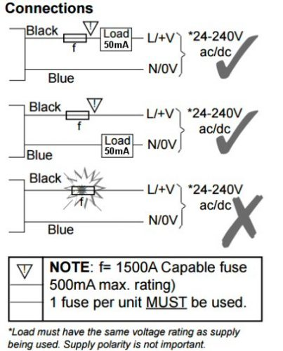 2 wire connections with fuse